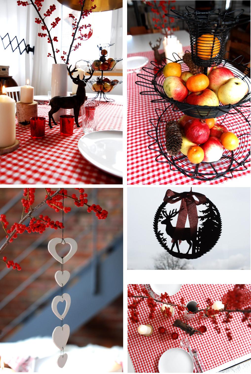 Hüttenzauber Tischdeko In Rot Weiß