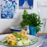 Fenchel-Orangen Salat mit Garnelenspieß