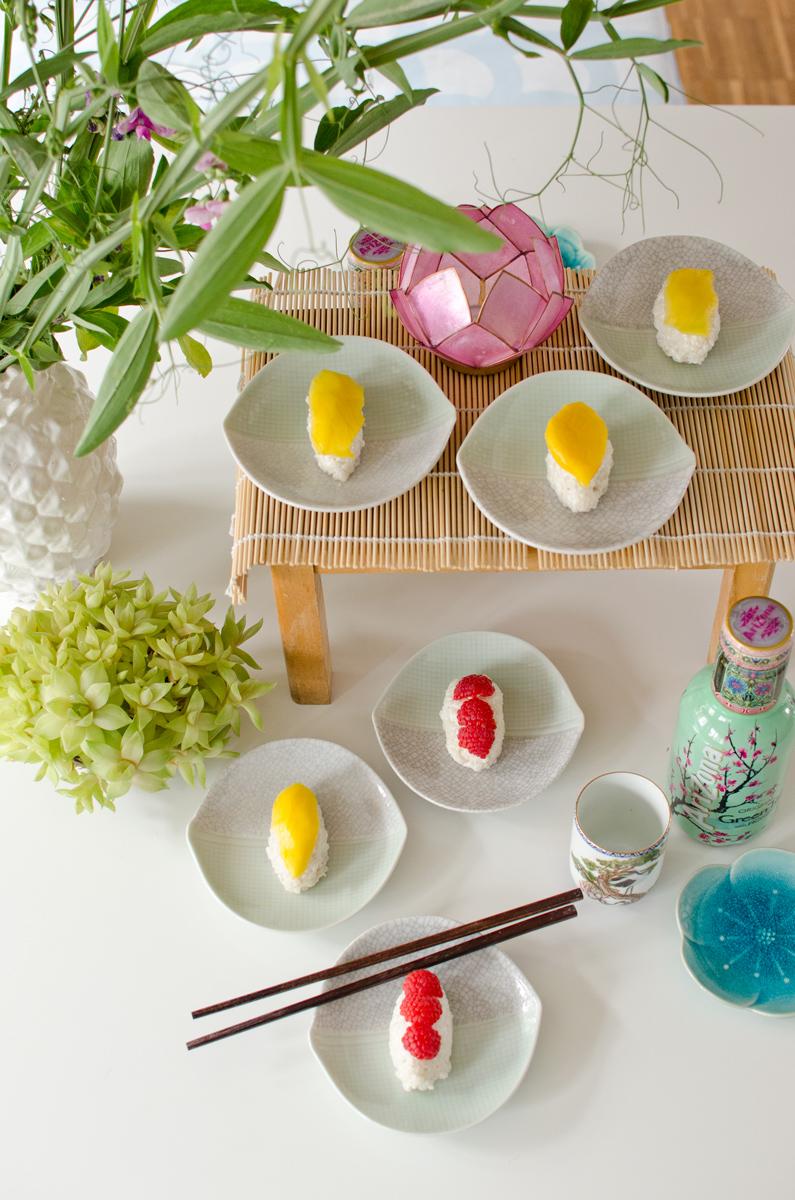 Japanische Tischdeko tischdeko im japanischen stil für süßes sushi mit veganem milchreis