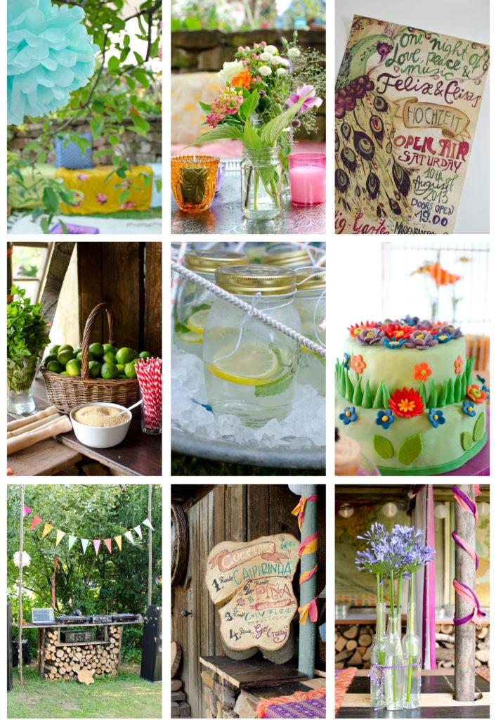 günstige Dekoideen für eine Hochzeit im Boho Look im Garten mit vintage Deko vom Flohmarkt in bunten Farben