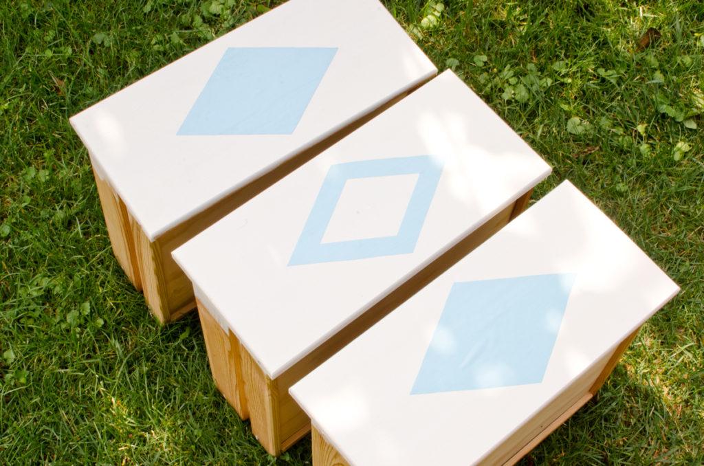 DIY aufhübschen einer billigen Kommode aus Kiefernholz für ein Teenie Zimmer in Blau und Weiß