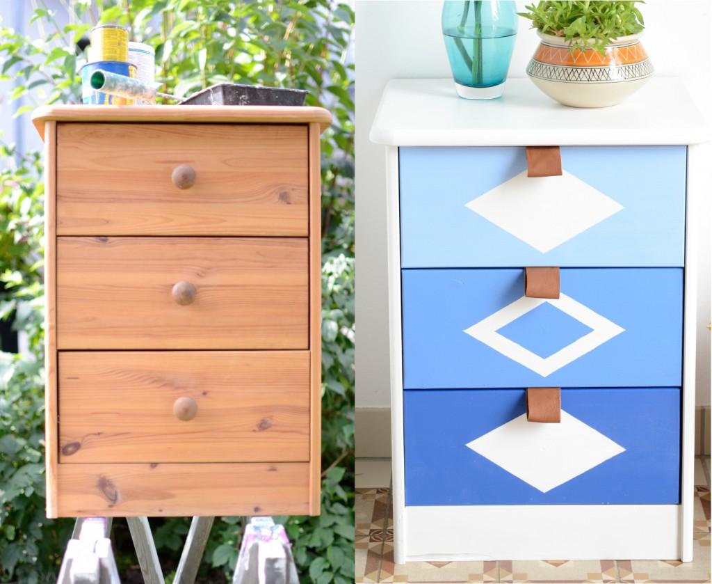 DIY aufhübschen einer billigen Kommode aus Kiefernholz für ein Teenie Zimmer in Blau und Weiß mit Ledergriffen