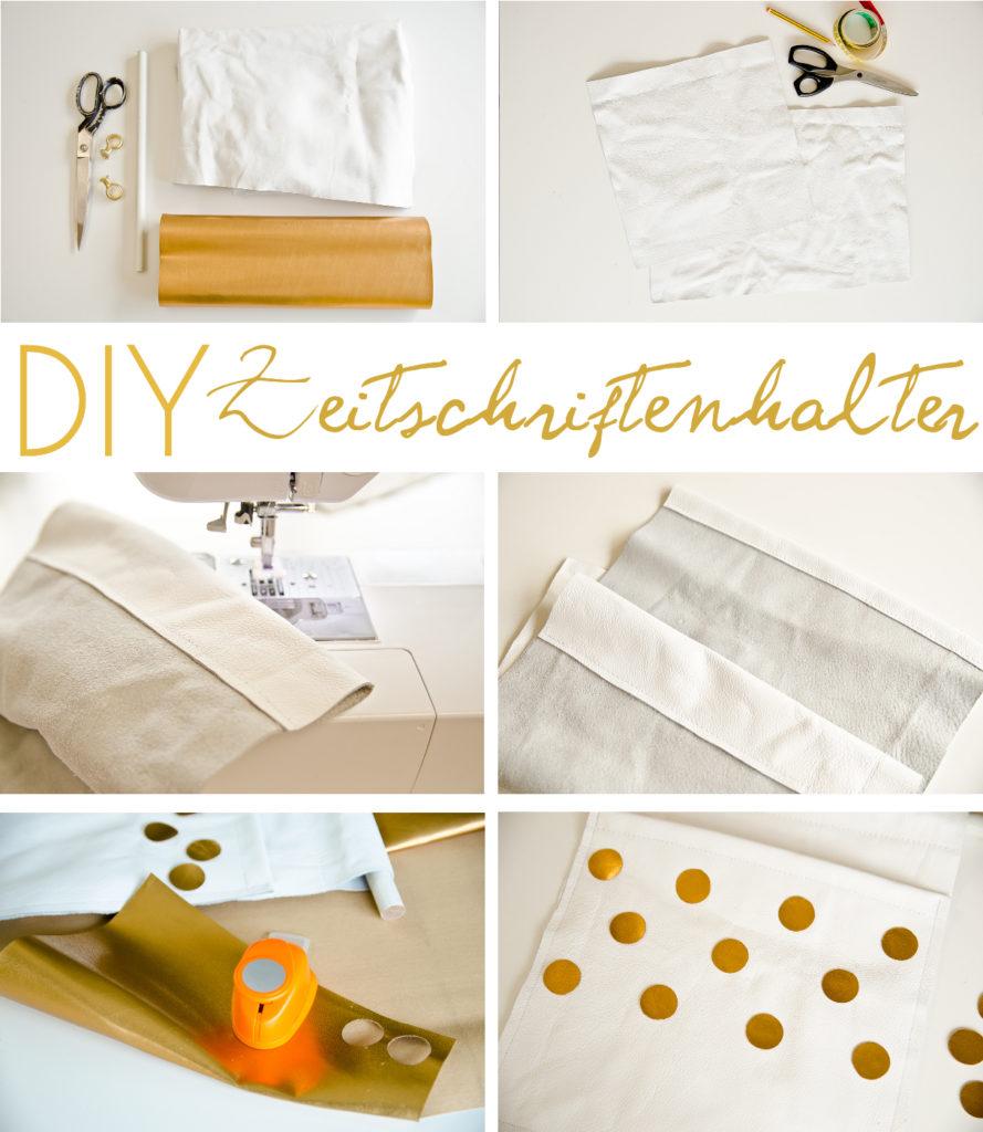 DIY Zeitschriften Halter aus Leder mit goldenen Punktenals praktische Deko für das Schlafzimmer