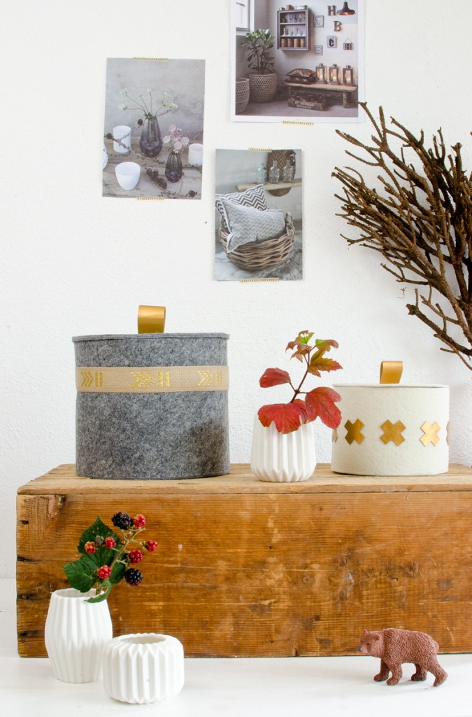 DIY Filzkörbe mit Deckel als Deko für den Herbst ohne Nähen