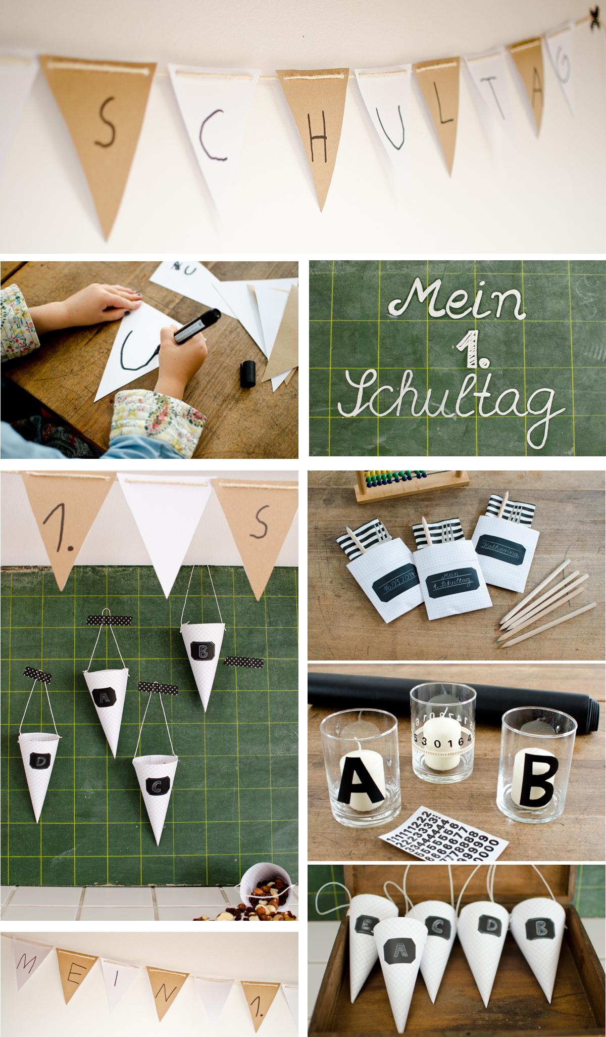 last minute DIY Dekoideen für die Tischdeko zur Einschulung aus Papier