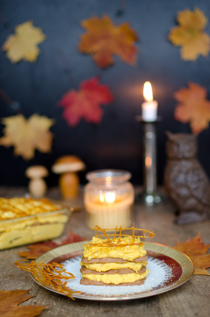 Rezept für Kürbis Mousse mit Spekulatius als leckeres Dessert für den Herbst