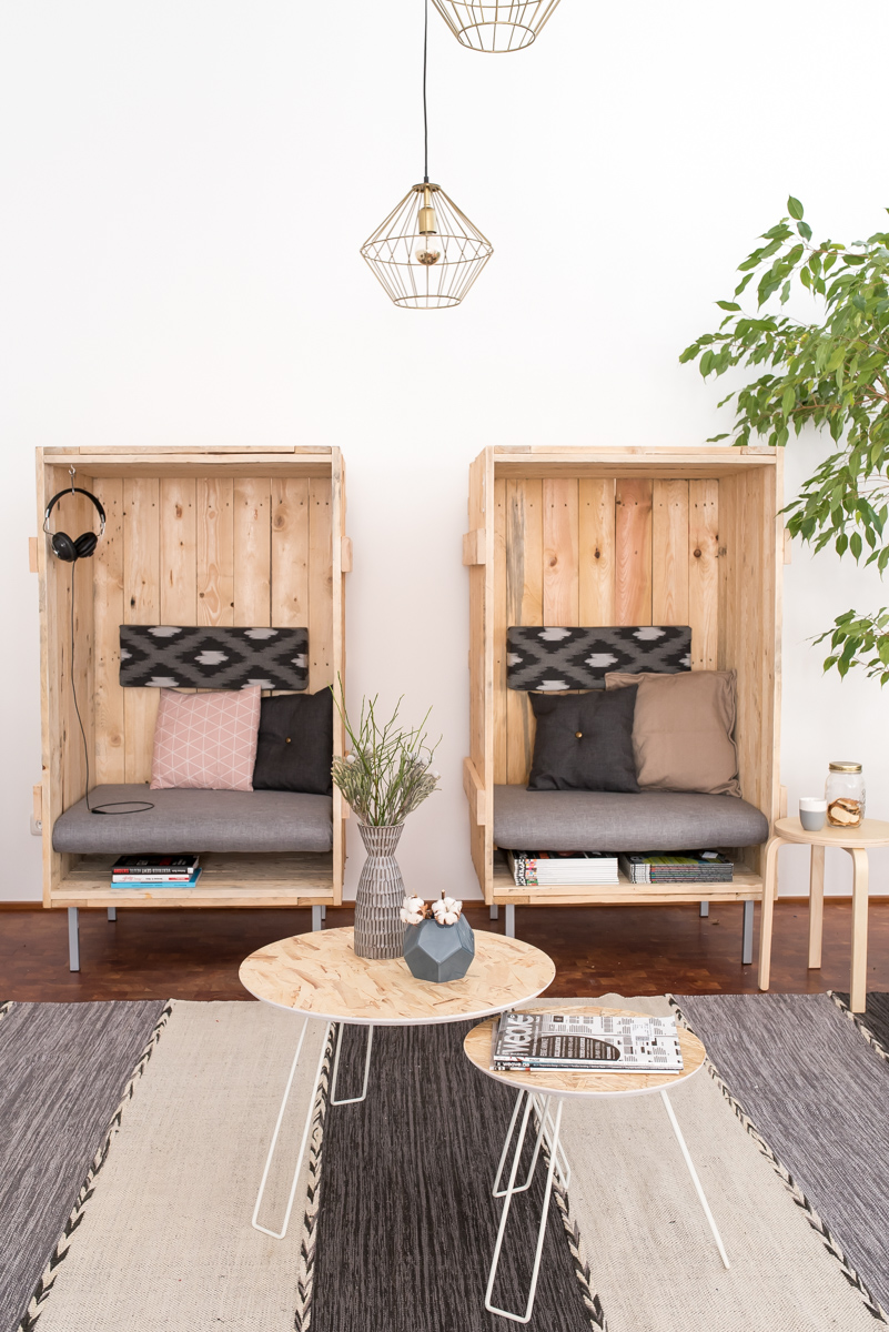 die agentur nachher arbeitsraum und wohlf hlzone mit diy upcycling strandk rben leelah loves. Black Bedroom Furniture Sets. Home Design Ideas