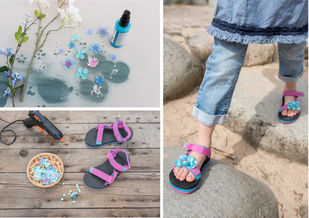 DIY Teva Sandalen customizing mit Stoffblumen