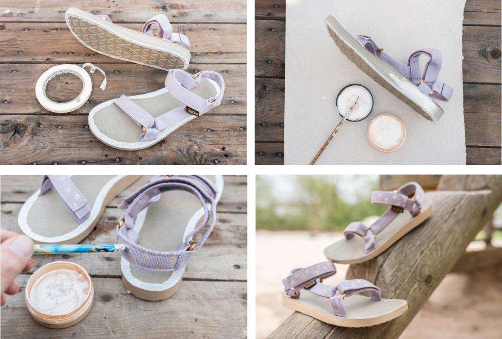 DIY customizing Sandalen von Teva mit Synthetikfarbe von viva color