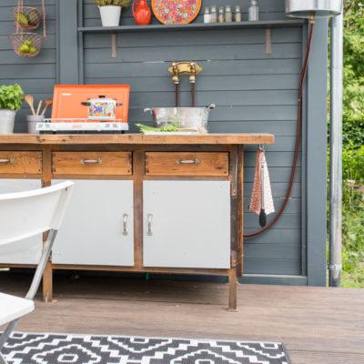diy –  upcycling outdoor Küche aus einer Werkbank