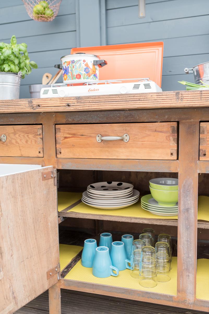 diy - upcycling outdoor Küche aus einer Werkbank - Leelah Loves