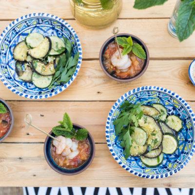 Orientalisches Picknick: Tomaten-Auberginen-Salsa und Grillgemüse mit Sesam
