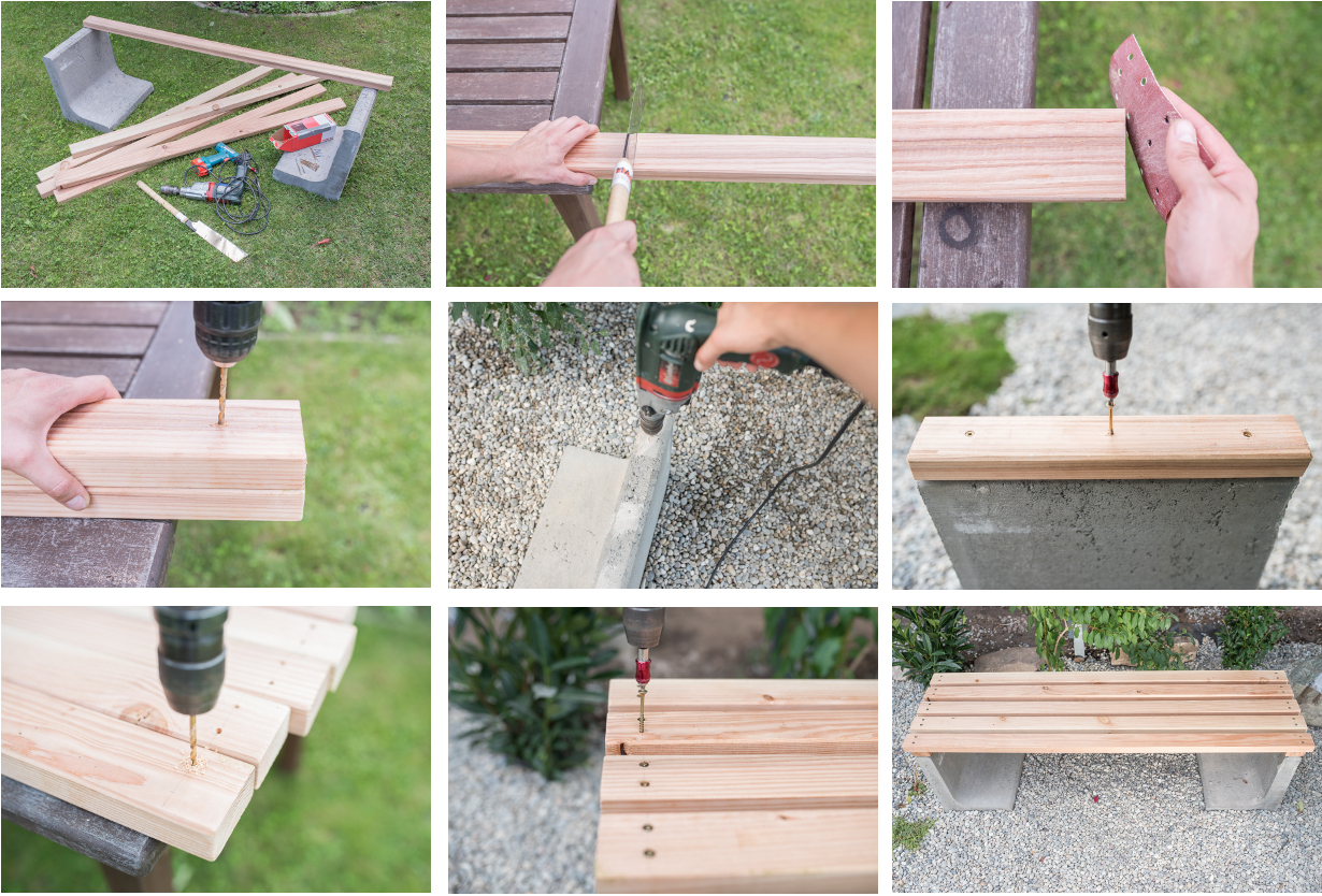 diy gartenbank mit beton und holz leelah loves. Black Bedroom Furniture Sets. Home Design Ideas