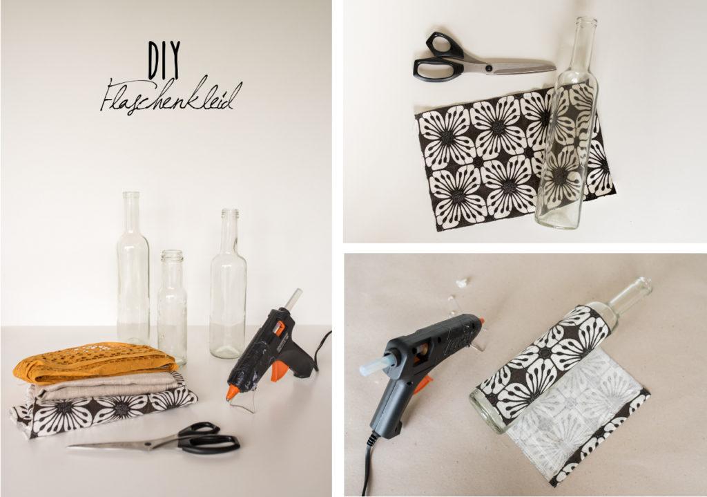 DIY upcycling Vase aus Altglas und Stoffresten als Deko für das Wohnzimmer im Herbst