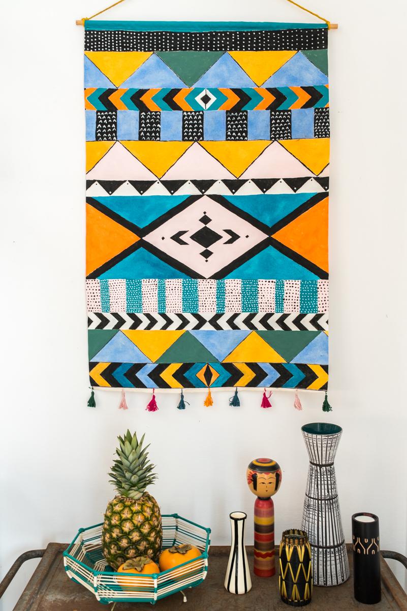 DIY Wandschmuck im Boho Look als Wand Deko im vintage ethno Wandteppich Stil
