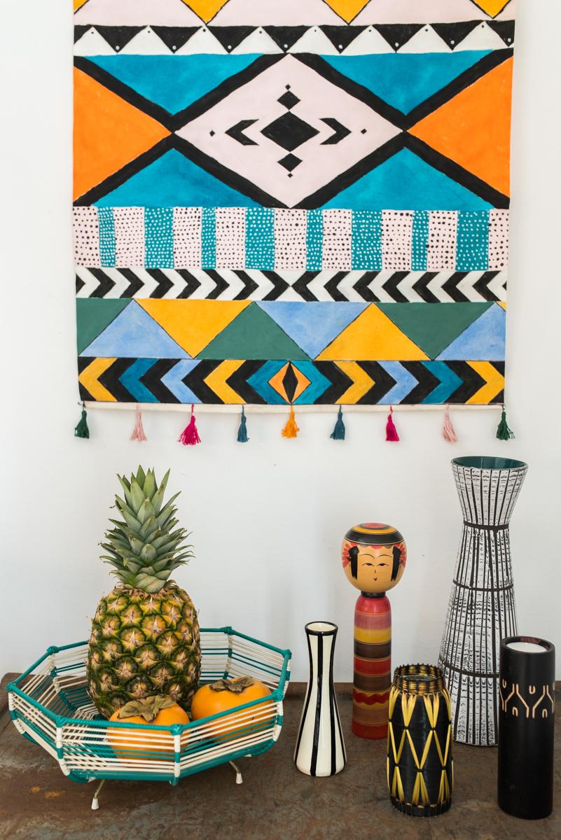 Anleitung für einen selbst gemachten DIY Boho Wand Deko im Wandteppich ethno vintage Stil