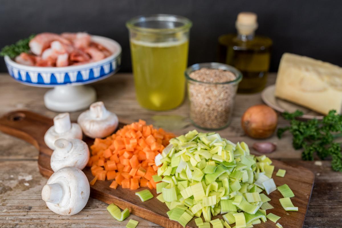 Rezept für knackiges Dinkel Risotto mit Garnelen