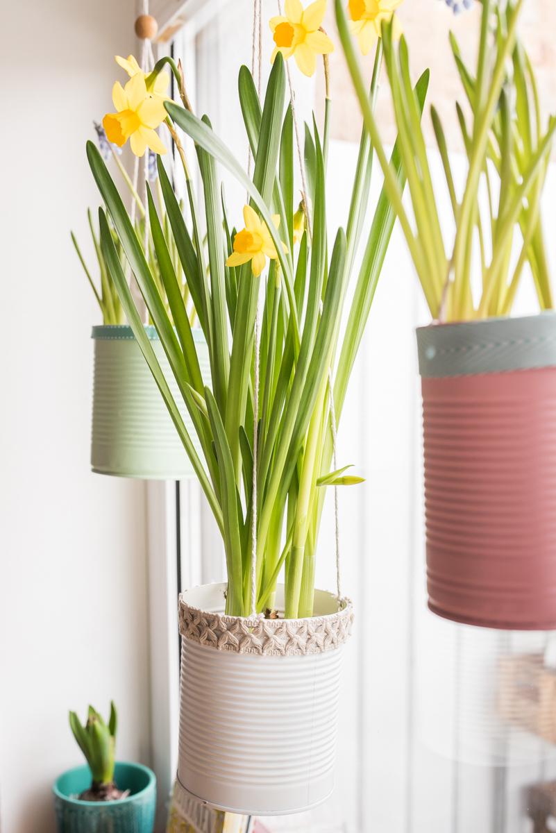 Selbst gemachte upcycling DIY Blumenampeln aus alten Dosen in Pastellfarben als Deko für das Küchen Fenster im Frühling