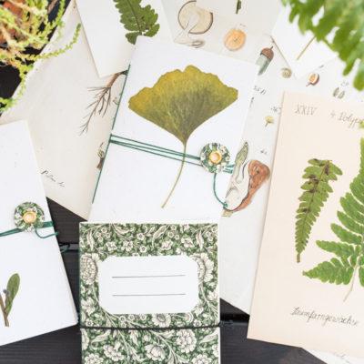 DIY – kleine gebundene Hefte im Botanik-Look