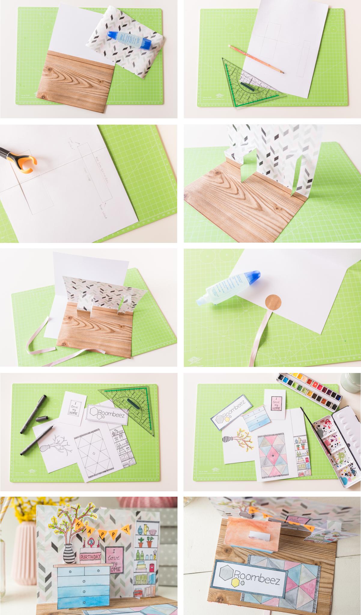 Anleitung für eine selbst gemachte DIY Pop up Geburtstagskarte zum aufklappen