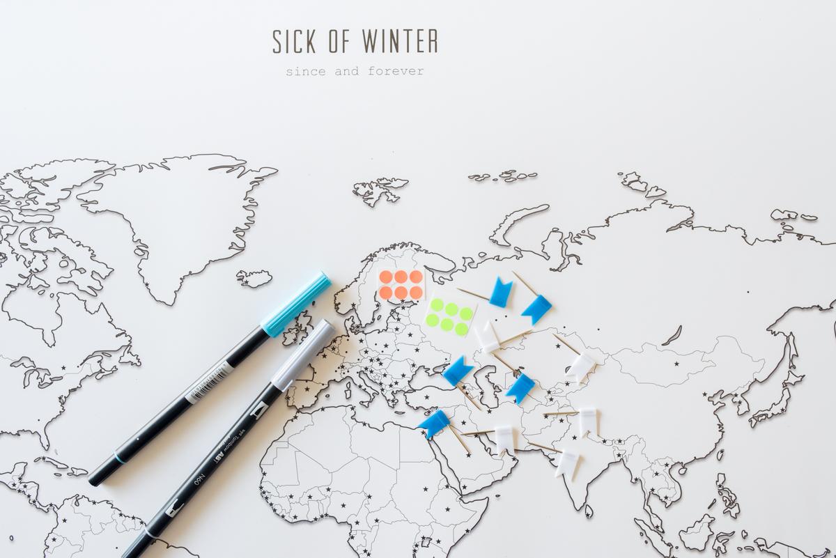 Deko Ideen für die Wand mit Design Weltkarten von Sick of Winter zum selber gestalten für Weltenbummler und Design Liebhaber
