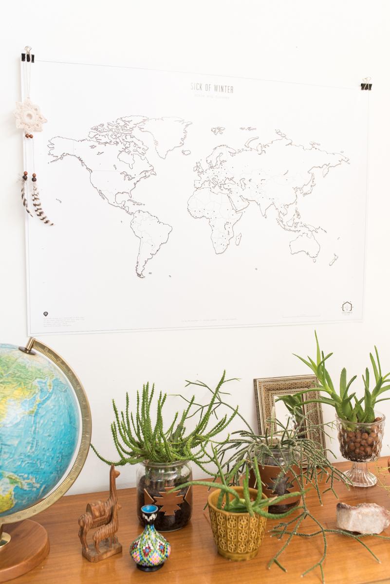 Dekoideen für die Wand mit Design Weltkarten von sick of winter zum selbst gestalten und giveaway bei leelahloves