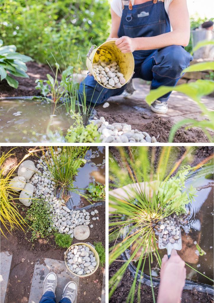 Selbst angelegter Mini Teich im Garten als Wochenendprojekt für den kleinen Garten