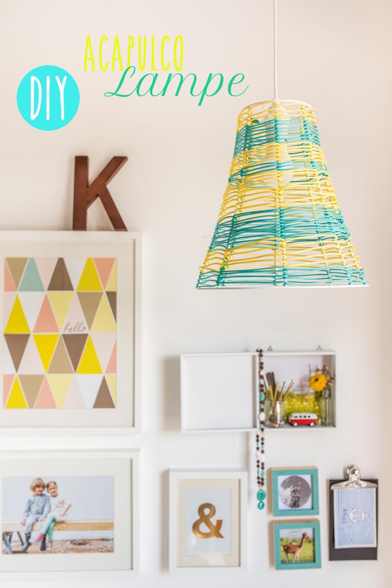 DIY selbst gemachte Lampe in Gelb und Türkis im Acapulco Look als Deko für das Haus im Sommer