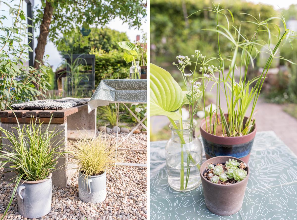 Dekoideen für den Garten mit selbst gebauter DIY Beton Bank, Pflanzen im Topf und kleiner Sitzecke