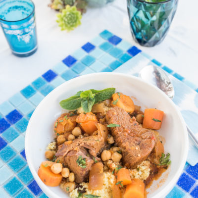 Orientalischer Schmortopf mit Orangen-Mandel-Couscous