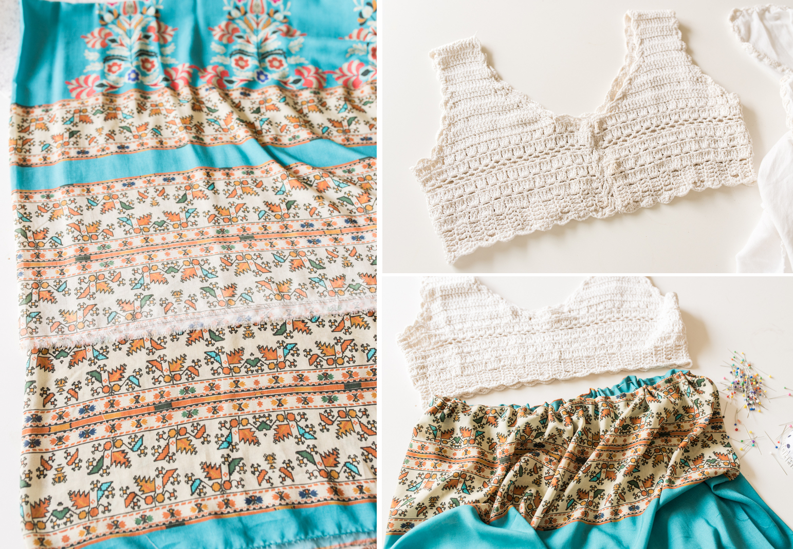 DIY upcycling Boho Sommer Kleid mit Häkel Top