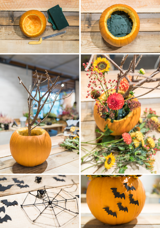 DIY Deko Ideen für Halloween mit Herbst Blumen, Ästen und Kürbis