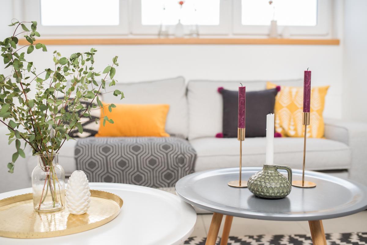 Deko Ideen für das Wohnzimmer im Herbst im Boho vintage Look