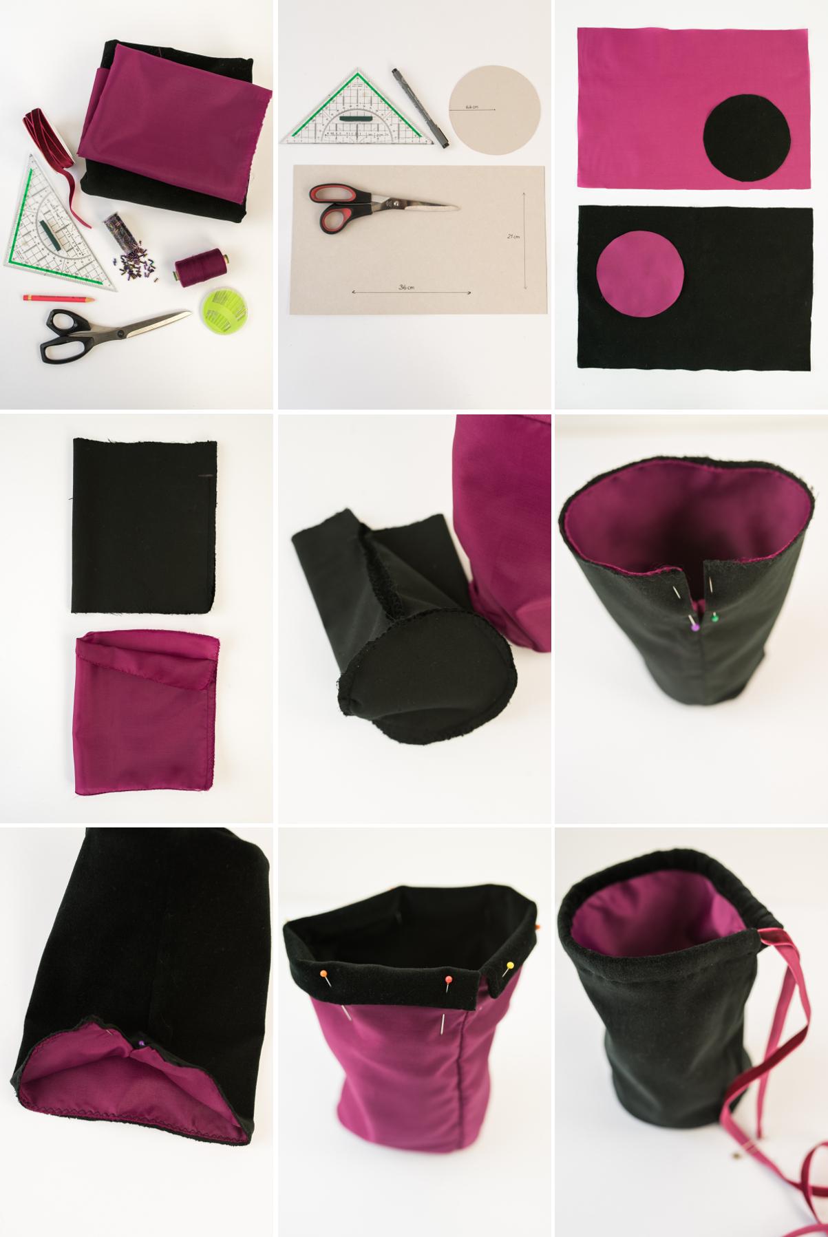 DIY Beutel Tasche aus Samt mit Pailletten als selbst gemachte Geschenk Verpackung für eine liebe Freundin mit Produkten von Weleda befüllt