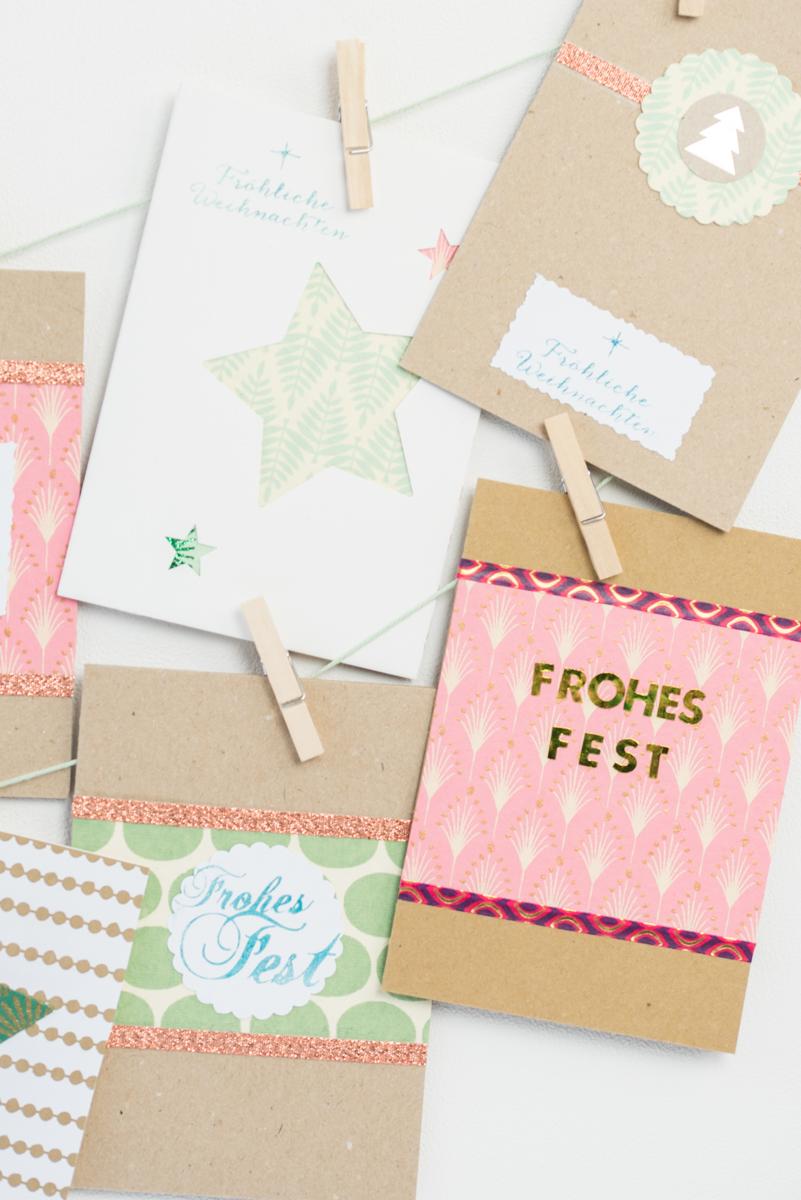Ideen für selbst gemachte DIY Weihnachtskarten aus Kraft Karton und handgeschöpftem Papier in Mintgrün und Rosa