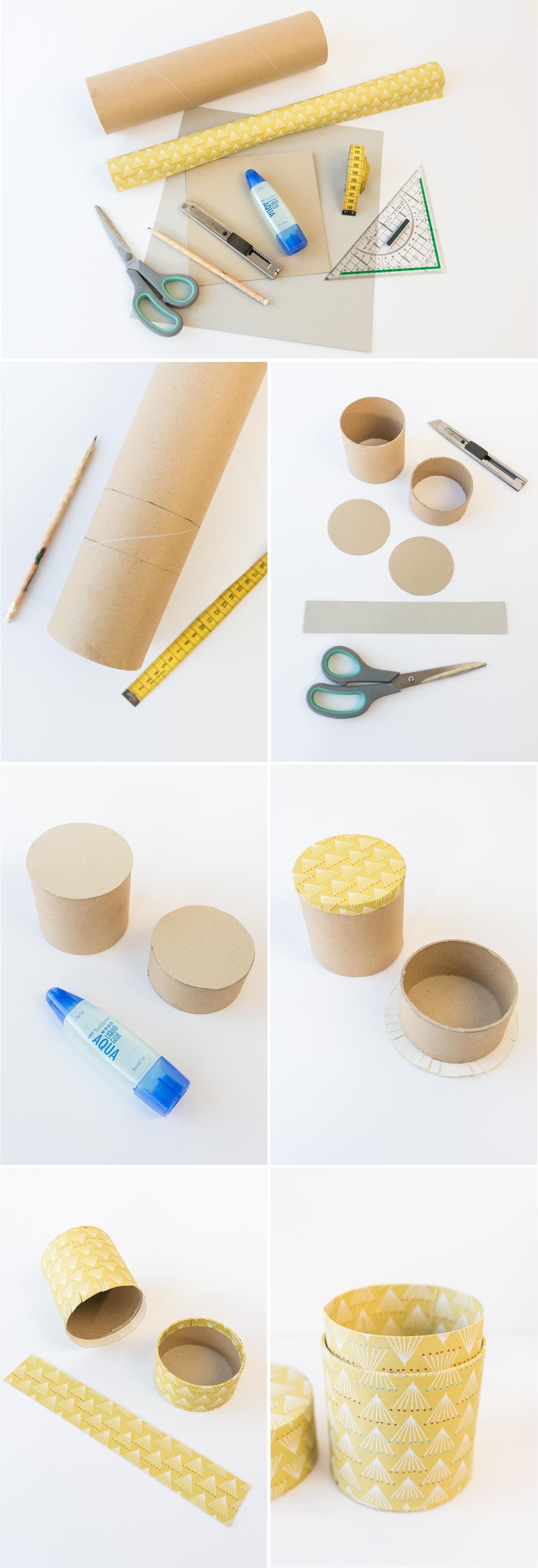Anleitung für selbst gemachte DIY upcycling Dosen aus Papierrollen als Aufbewahrung und Deko für das Büro