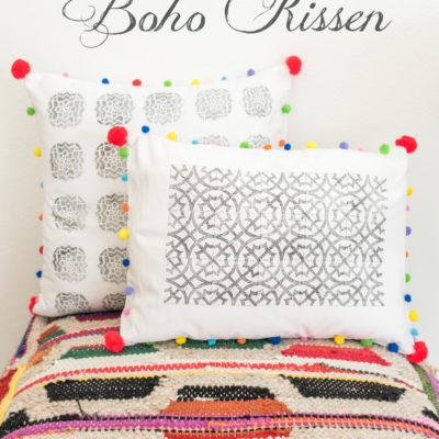 DIY – bedruckte Boho Kissen mit Pompoms