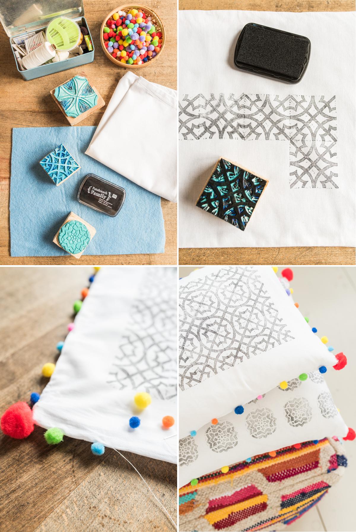 Anleitung für selbst gemachte DIY Kissen mit Textilfarbe, Stempeln und bunten Pompoms als Deko für das Wohnzimmer im Boho vintage Look
