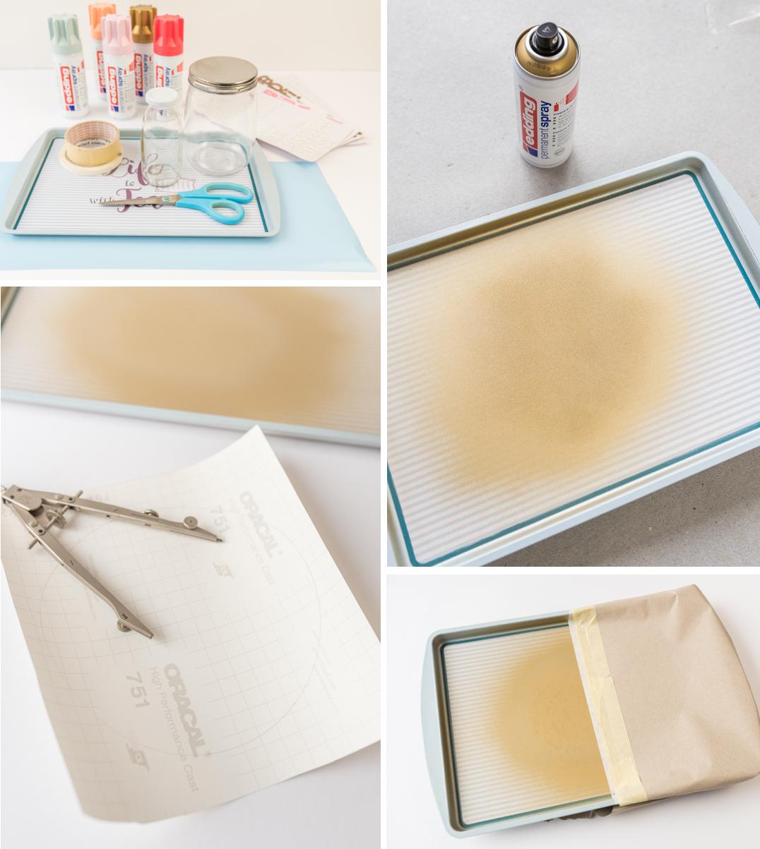 Deko und DIY Ideen im Frühling für die Schlafzimmer Einrichtung in Pastellfarben und eine Kaffeebar mit selbst gestalteten Gläsern für Kaffee Kapseln und Milch