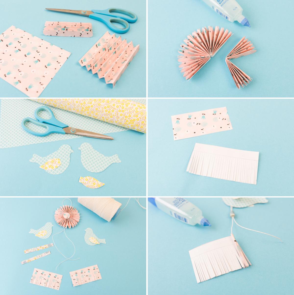 DIY - Vogelanhänger zum Aufhängen aus Papier als selbst gemachte Deko für den Frühling und für Ostern in bunten Farben
