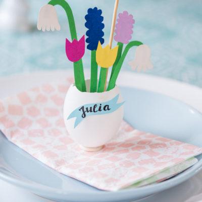 DIY – Papierblumen im Ei als Tischdeko für Ostern und Verlosung