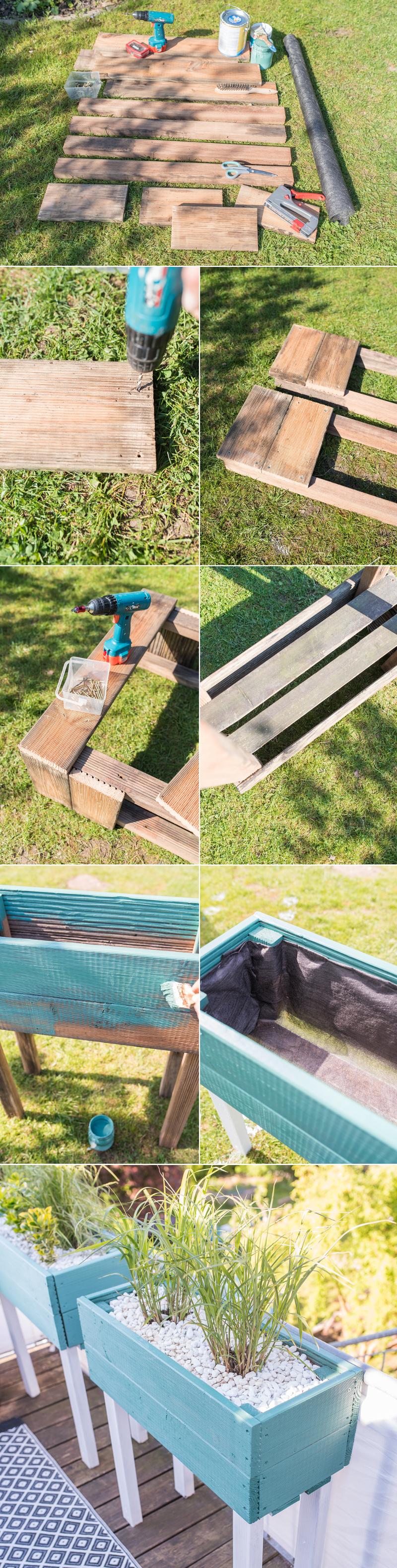 Anleitung für einfache, selbst gebaute upcycling Pflanzkübel aus Holz Resten als Sichtschutz für den Balkon mit Gräsern bepflanzt