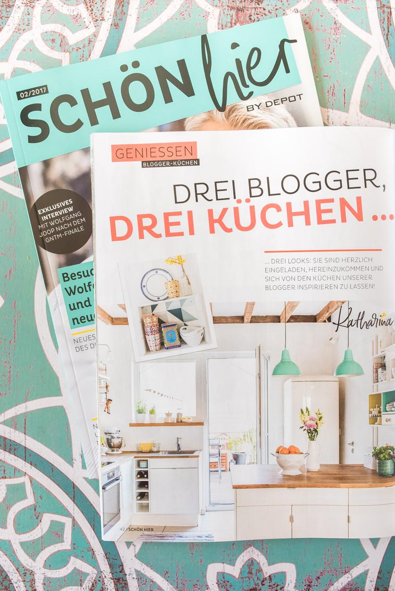 Dekoideen für die Küche im bunten skandinavischen vintage Look mit sommerlicher Deko in Pastellfarben