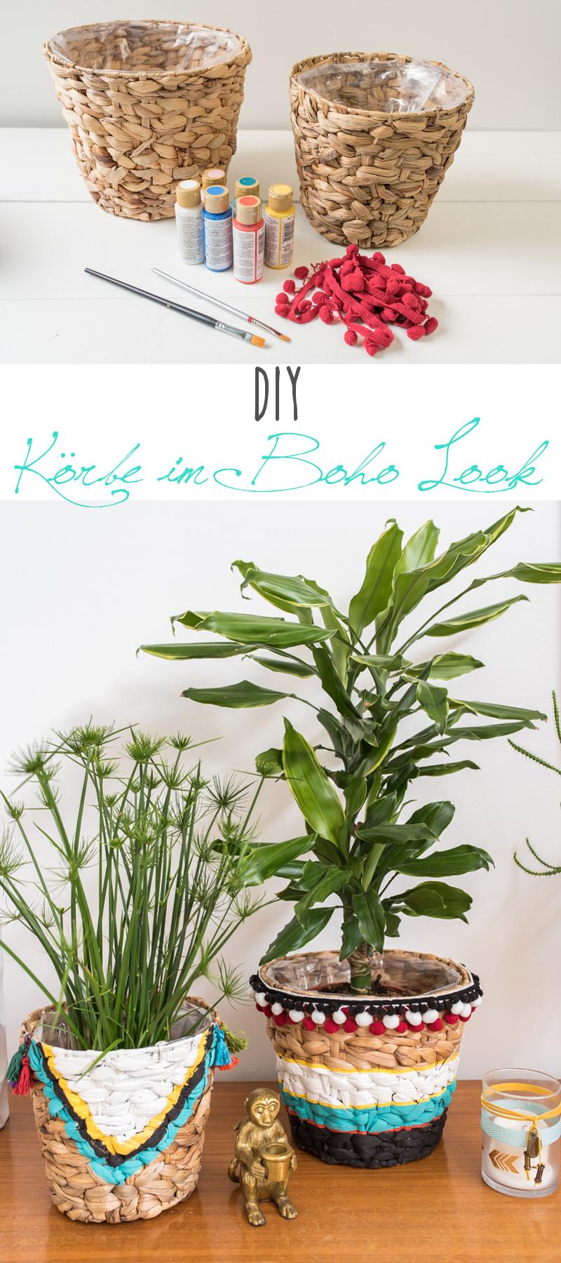 DIY Anleitung für bemalte Blumentöpfe aus Seegras im Boho Ibiza Sommer Look mit Bommelborte und Quasten für das Wohnzimmer im sommerlichen Beach Style