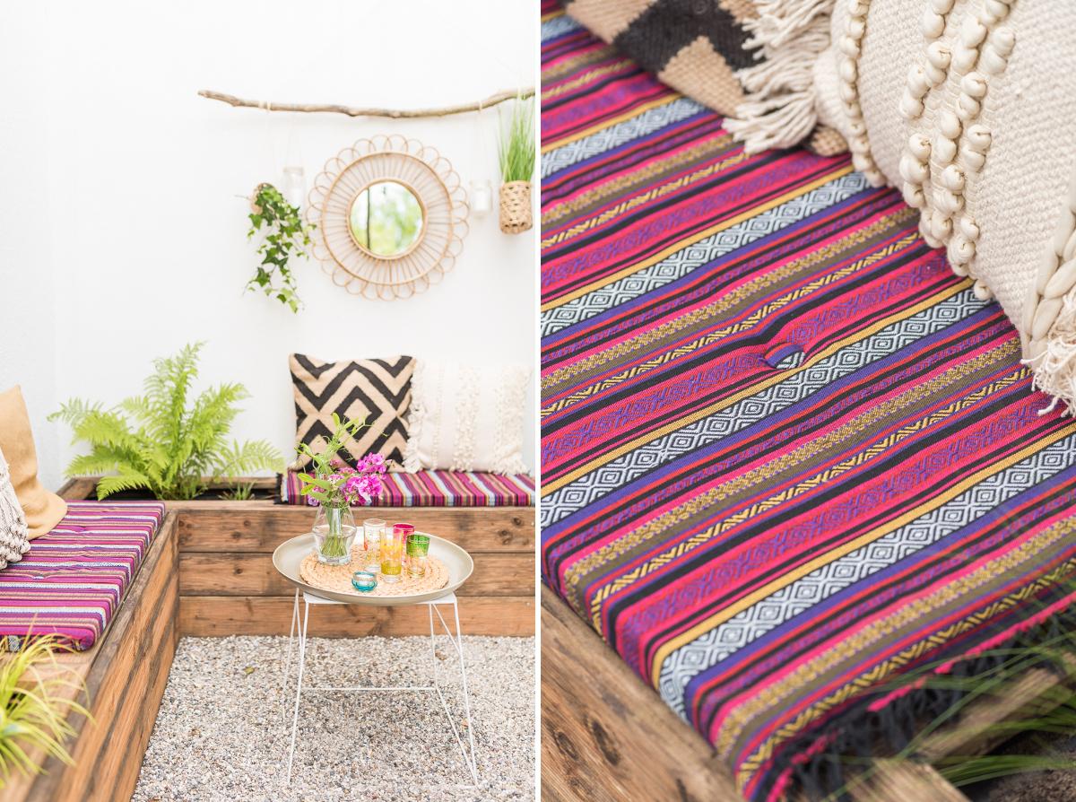 DIY und Dekoideen für die Garten Terrasse im Boho Look mit upcycling Sitzbänken aus Terrassenholz und vorher nachher Bildern des makeovers