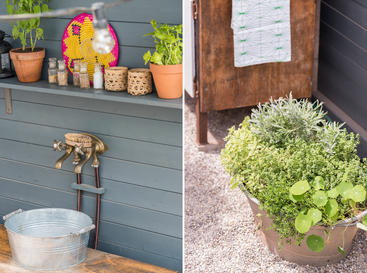 DIY und Dekoideen für die Garten Terrasse mit outdoor Küche im Boho Look mit upcycling Sitzbänken aus Terrassenholz und vorher nachher Bildern des makeovers