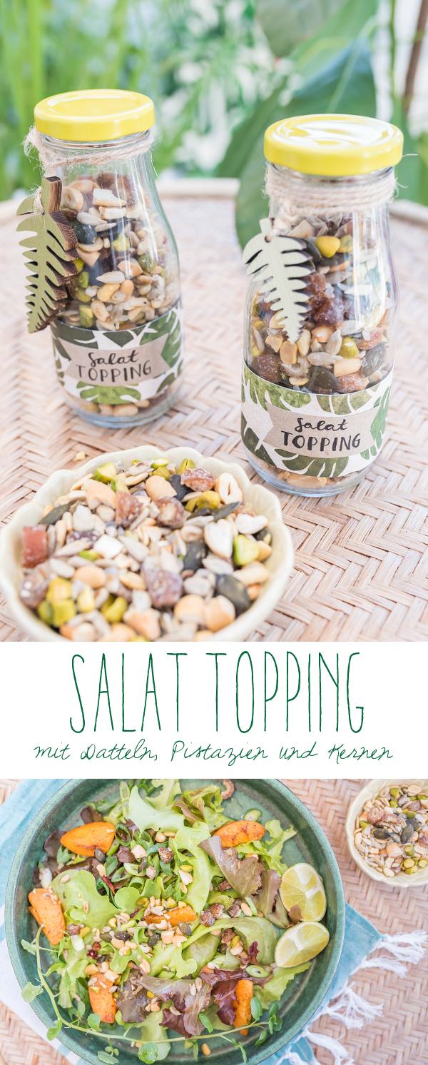 Rezept für ein leckeres Salat Topping mit Datteln, Pistazien, Cashews und Kernen als Mitbringsel zur Grillparty
