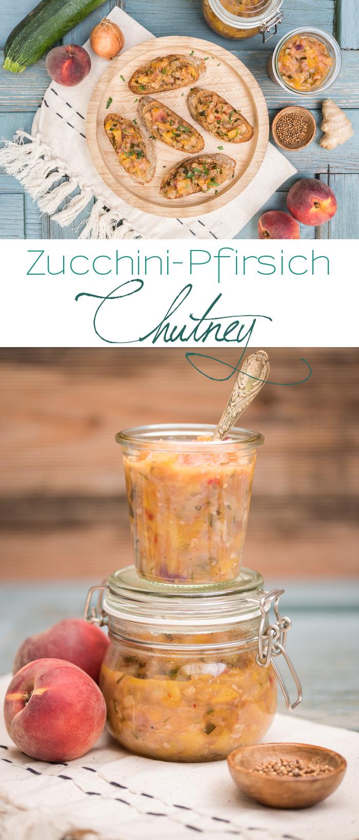 Rezept für Zucchini Pfirsich Chutney mit Koriander und Kreuzkümmel ohne Haushaltszucker für Crostini oder als Sauce zum Grillen