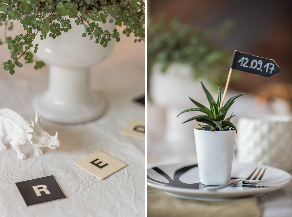 Deko Ideen für die Tischdeko zur Einschulung im modernen Dinosaurier Look mit Pflanzen und Sukkulenten