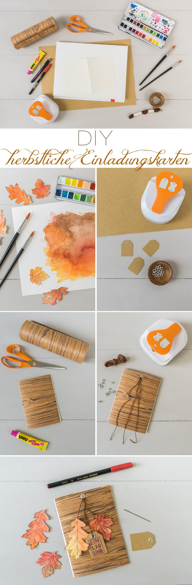 Anleitung für eine selbstgemachte DIY Einladungskarte aus Papier und Holzstoff als kreative Einladung zum Geburtstag im Herbst mit Aquarell Blättern